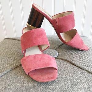 Louise Et Cie Pink Block Heel Slide Sandal
